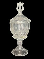 More details for antique harp finial etched flower lidded glass candy dish