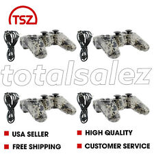 4 For Sony Playstation 3 PS3 Camo Wireless Bluetooth Video Game Controller Cord