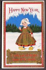 Happy New Year postcard Cute Dutch Girl Bonnet & Wooden Shoes Snow 1915 pc