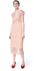 New Three Floors Fairest Dress Peach Pink Lace Dress Size 8-12