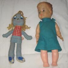 """Lot Of 2 Vintage Knickerbocker 10"""" Levi Doll & 13"""" Plastic Girl Doll"""