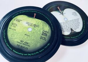 The Beatles - 2 Vinyl Record Label coasters. Hey Jude. Abbey Road. Apple Records
