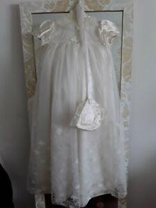 Vintage lace & satin Baby Christening Gown & bonnet