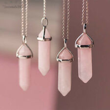 Natural Rose Quartz Gem Stone Charm Pendant Chakra Healing Crystal Necklace Gift