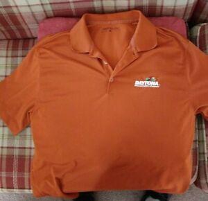 Nike Golf Dri Fit Mens Daytona Speedway Short Sleeve orange Polo Shirt Size L