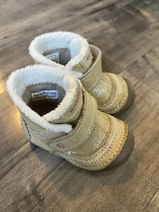 Stride Rite Constance Leather Boot Shoe Faux Fur Toddler Girl Size 3 Glitter Tan