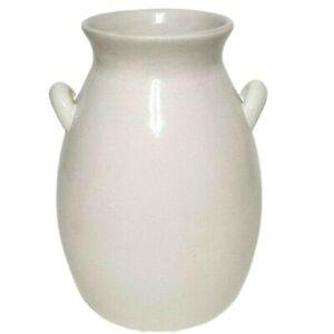 Farmhouse White Crackled Decorative Vase with Handles