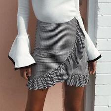 Hot Women Wrap Ruffle A Line High Waist Summer Casual Striped Short Mini Skirt