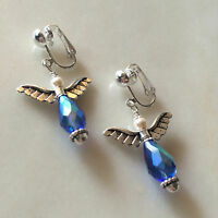 Silverplated Angel Clip-on Earring with Crystal and Pearl EAC273