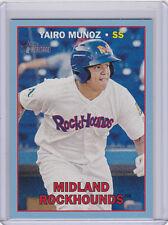 YAIRO MUNOZ ROCKHOUNDS 2016 TOPPS HERITAGE MINOR LEAGUE BLUE CARD #53 37/99 A'S