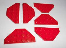 Lego (2419) 6 trapecio-placas 6x3, en rojo de 7939 6862 6923 4537 7994 7898 75913