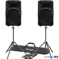 """Mackie SRM450 V3 Active PA Speakers x2, 500W RMS """"Free"""" Stands & Leads Bundle"""
