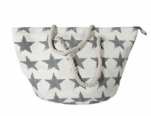 Ivory Shopper Storage Bag With Stars Natural Materials And Cord Handle 61x35cm