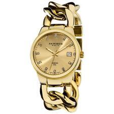 Akribos XXIV AK608YG Swiss Genuine Diamond Twist Chain Bracelet Womens Watch
