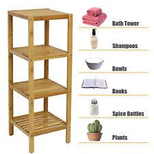 New ListingBamboo 4-Tier Storage Rack Display Shelf Oraganizer Bathroom Kitchen Furniture