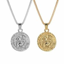 St. Christopher Pendant Gold or Silver Plated Box Chain Necklace Fashion Jewelry