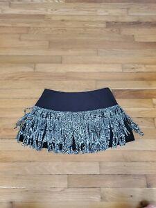 Lucky In Love tennis skirt/skort with fringe~black/white Size L