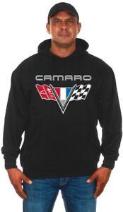Camaro Pullover Hoodie Mens Black Sweatshirt Printed Logo CAM9P3BSV8-BLK