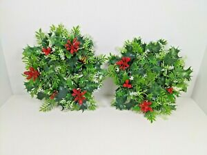 2 Matching Vintage Plastic Candle Ring Christmas Wreath Holly 9""