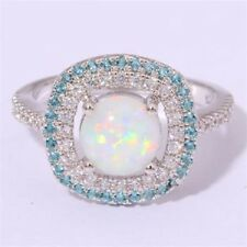 Amazing  Fire White Opal  White & Blue  Topaz   Ring 925 silver Size 5