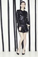 Jean Claude Jitrois Lambskin Leather Skater Skirt sz 34 US 4 Mini