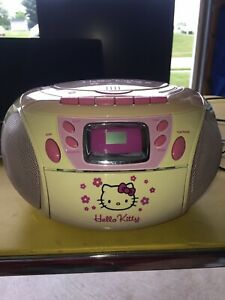 Hello Kitty cd radio cassette player Boombox Works Tested See Description