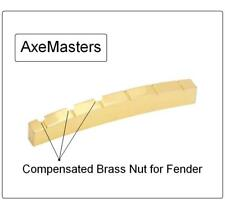 AxeMasters COMPENSATED MALMSTEEN Curved Brass Nut made for Fender Strat Guitar