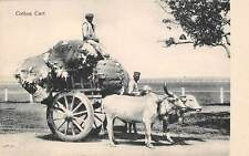 India ~ Ox Cart Loaded With Cotton & Its 2 Drivers ~ c. 1904-14