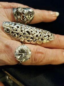 3 Sterling Silver, Large Cz Rings, Gorgeous,  sz 8, 9,Look!