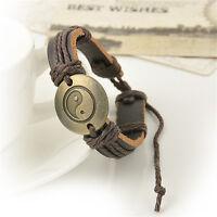 Vintage Men Women Leather Yin and yang Charm Wrap Infinity Bracelet Jewelry Gift