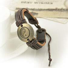 Vintage Men Infinity Yin and yang Wrap Leather Charm Bracelet Women Jewelry Gift