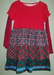 Matilda Jane JOLLY HOLIDAY Dress Tiered Plaid Wreaths Christmas Girls Size 4 F3