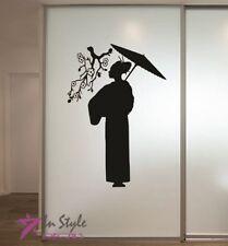 Vinyl Decal Japanese Geisha Woman Asian Sakura Cherry Branch Wall  Sticker 1425