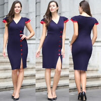 Women Elegant V-neck Business Office Work Formal Bodycon High Waist Sheath Dress