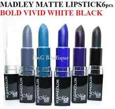 6pc SET Kleancolor Madly Matte Lipstick gLOSS VIVID WHITE BLACK BLUE PURPLE 1881