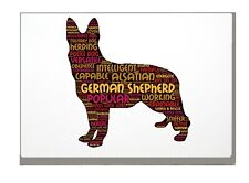 More details for german shepherd art print word art a4 a3 mothers day gift personalised option