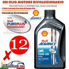 12 Litri Olio Motore 4 tempi SHELL ADVANCE ULTRA4 15W50 100% Sintetico -PUREPLUS
