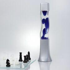 Moderno Lámpara de Lava Azul 42cm Cristal Cuadrados Salón Retro Mesa Gris