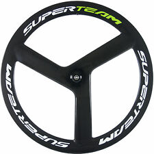 SUPERTEAM 56mm 3 Spoke Carbon Wheels 3k Glossy Fixed Gear Carbon Front Wheel