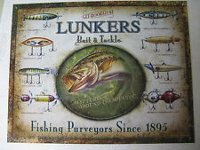 Lunker's Lures Tin Metal Sign Fishing Fish Fly Bait NEW