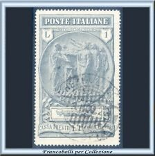 1923 Italia Regno Camicie Nere Lire 1 + L. 1 grigio chiaro n. 149 Usato