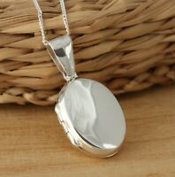Solid 925 Sterling Silver Oval Plain Photo Locket Pendant Gift Boxed