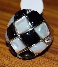 New Ladies Sterling .925 Silver Ring w/ Mother of Pearl & Black Onyx  WHOLESALE