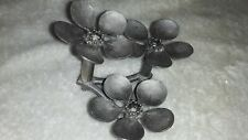 Vintage Metzke Pewter 3 Flower detailed Candle Stick