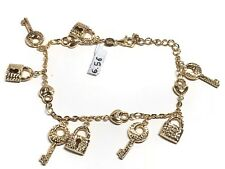 18k Yellow Gold Diamond Cut Lucky Lock And Key Charm Chain Link Bracelet 6.56g