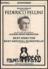 AMARCORD__Original 1976 Trade Oscar AD / poster__FEDERICO FELLINI__ROGER CORMAN