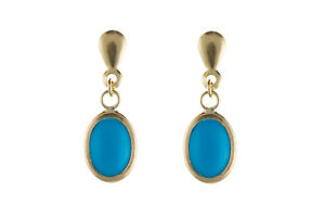 Turquoise Earrings Yellow Gold Drop Solid 9 Carat Drops
