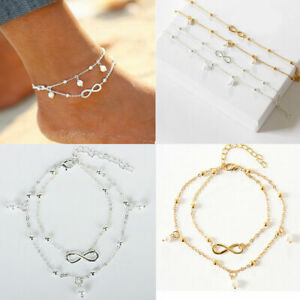 UK Women Ankle Bracelet Infinity 925 Silver Plated Anklet Foot Chain Beads