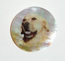 """Yellow Lab Dog  - Mother of Pearl MOP Shank Button 1+3/8"""" Yellow Lab Dog Button"""