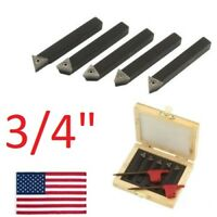 "5 pc 3/4"" Lathe Indexable Carbide Insert + Turning Tooling Bit Holder Set USA"